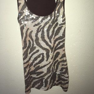 Wet Seal Tops - Wet Seal sequins racerback tank top zebra Small